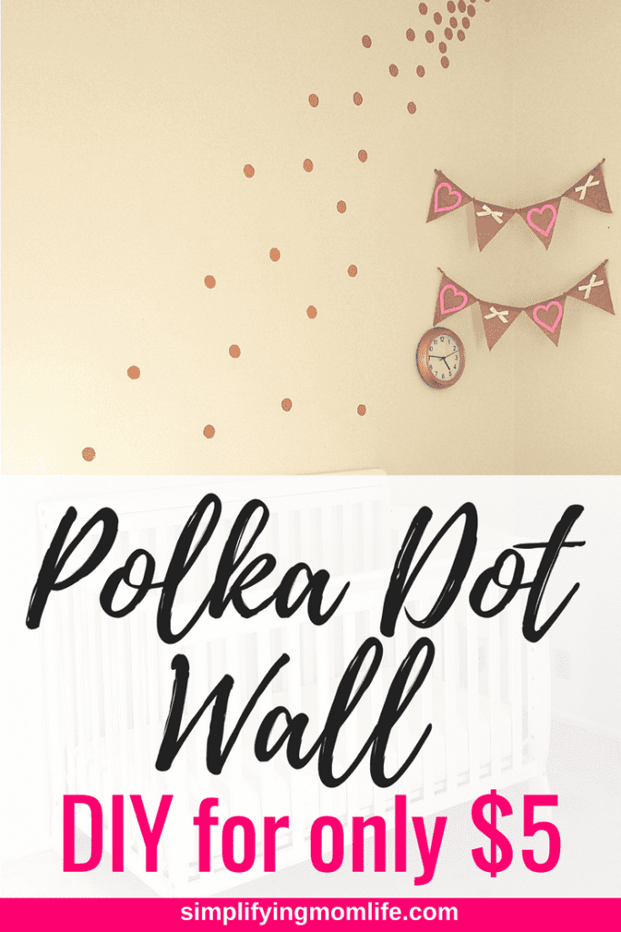 DIY Gold Polka Dot Wall for only $5 - pink and gold decor - toddler nursery girl decor - no cricut - without cricut - frugal wall decor