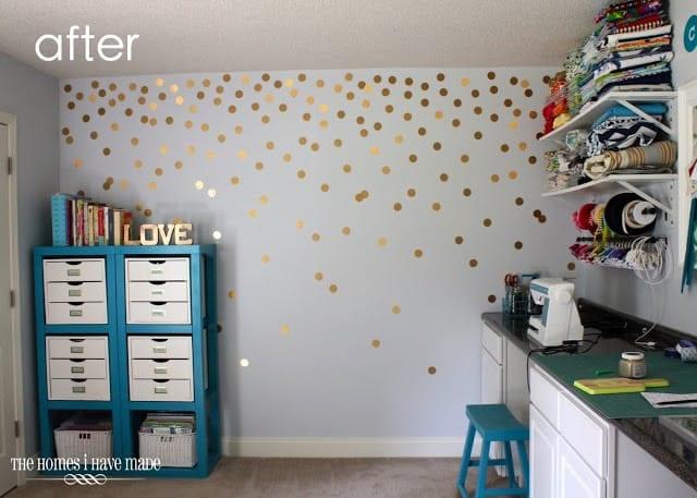 DIY gold polka dot wall - the homes i have made