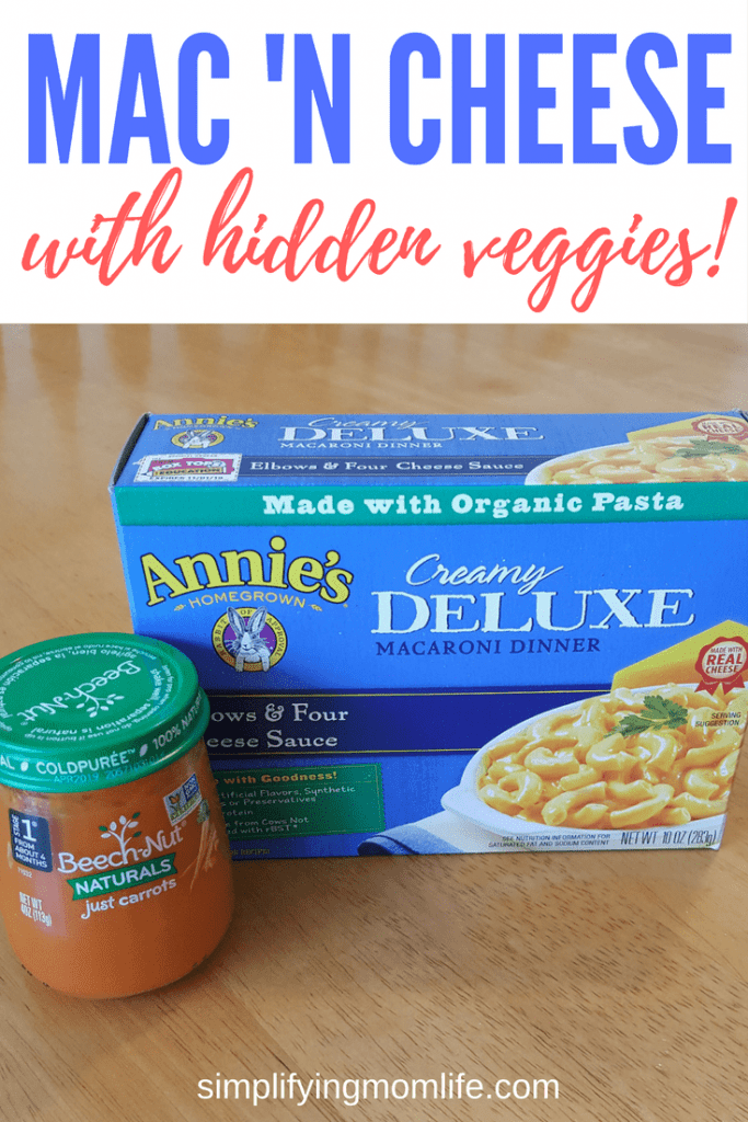 Perfect for my toddler! Macaroni and cheese with hidden veggies! - Simplifying Mom Life - hiding veggies in macaroni and cheese